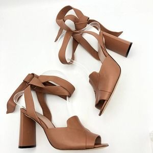 Francess Leather Block Heel Gladiator Sandals Tan